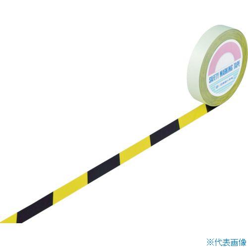 ■緑十字 ガードテープ(ラインテープ) 黄/黒(トラ柄) 25MM幅×100M〔品番:148022〕[TR-8353724]