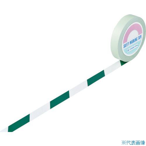 ■緑十字 ガードテープ(ラインテープ) 白/緑(トラ柄) 25MM幅×100M〔品番:148024〕[TR-8353726]