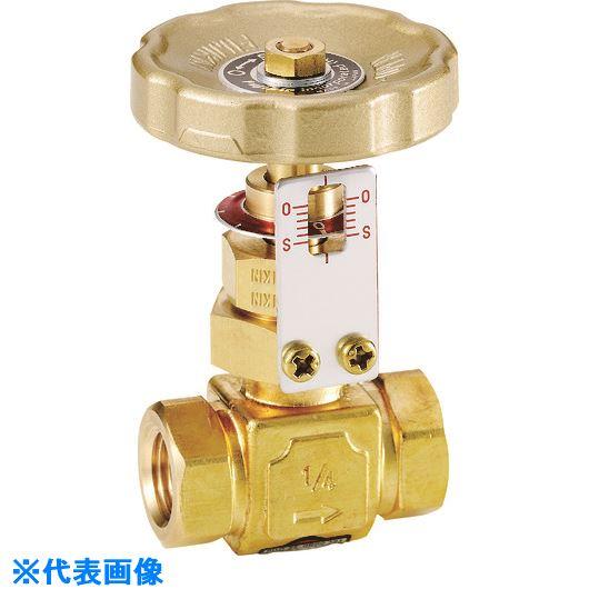 ■フジキン 黄銅製ニードルバルブ3/8B 開度指示器付き〔品番:DH-12GC-R〕[TR-8504765]