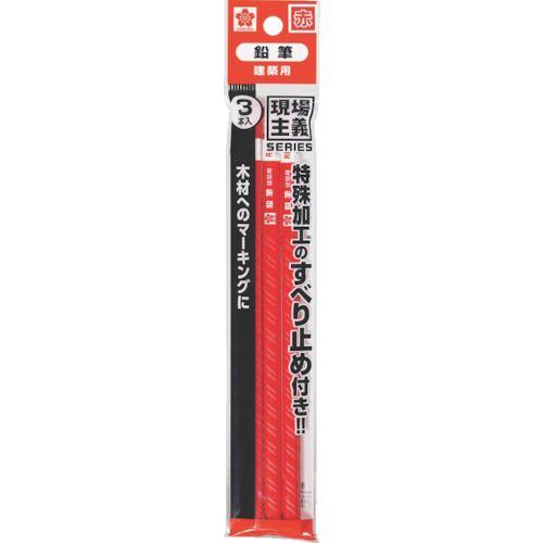 ■サクラ 建築用鉛筆 3本パック 赤 30本入 〔品番:K-ENPITU-R-3P〕掲外取寄[TR-8511664×30]