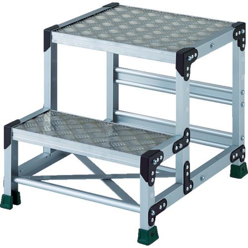 ■TRUSCO アルミ合金製作業台 縞鋼板 2段  500X400  〔品番:TSFC-255〕[TR-8557682]