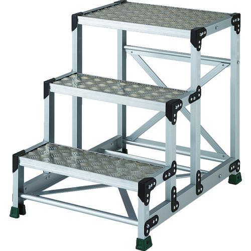 ■TRUSCO アルミ合金製作業台 縞鋼板 3段 高さ0.75M 600X400  〔品番:TSFC-3675〕[TR-8557683]【大型・重量物・個人宅配送不可】