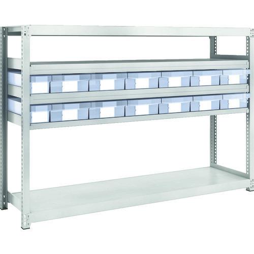 ■TRUSCO M2型軽中量棚 H1200 樹脂透明引出付 小X2大X12  〔品番:M2-4645-C2D12〕[TR-8563235]【大型・重量物・個人宅配送不可】