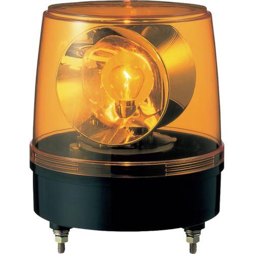 ■パトライト 大型回転灯KG型 黄  〔品番:KG-12-Y〕取寄[TR-8568720]