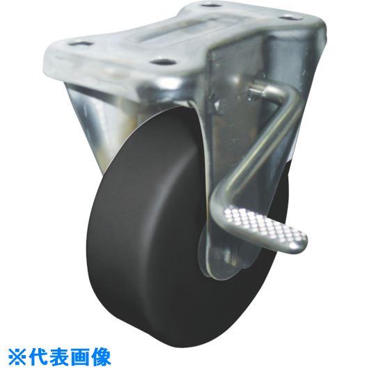 ■ヨドノ 導電MCナイロン車輪(ベアリング入)ステンレス製固定金具ストッパー付  〔品番:EMC-KAB130CD〕取寄[TR-8573211]