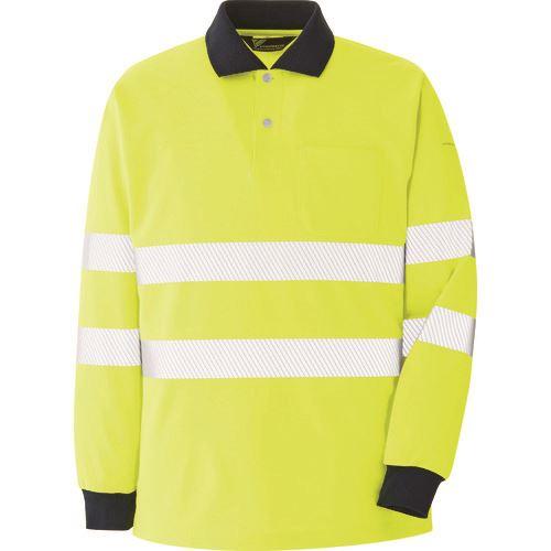 ■ミドリ安全 高視認 長袖ポロシャツ イエロー 3L〔品番:VES〕[TR-8578961]
