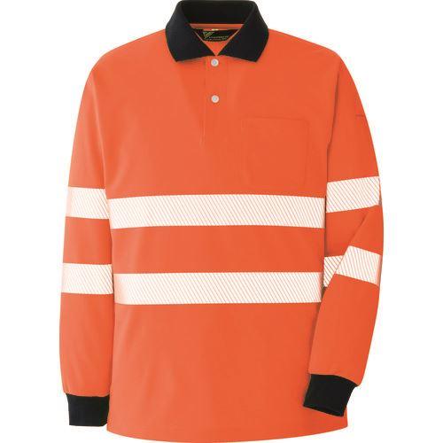 ■ミドリ安全 高視認 長袖ポロシャツ オレンジ L〔品番:VES〕[TR-8578971]