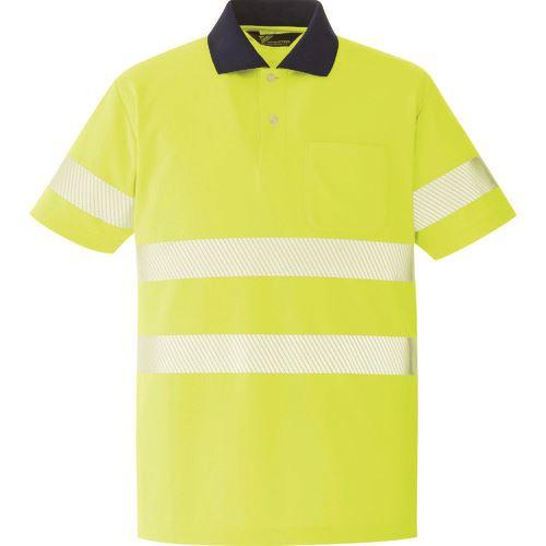 ■ミドリ安全 高視認 半袖ポロシャツ イエロー L〔品番:VES〕[TR-8579048]