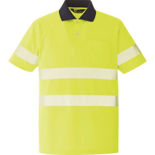 ■ミドリ安全 高視認 半袖ポロシャツ イエロー LL〔品番:VES〕[TR-8579049]