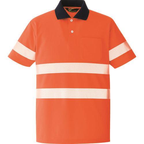 ■ミドリ安全 高視認 半袖ポロシャツ オレンジ LL〔品番:VES〕[TR-8579056]