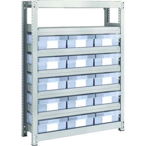 ■TRUSCO M2型軽中量棚 H1200 樹脂透明引出付 大X15  〔品番:M2-4337-D15〕[TR-8596095]【大型・重量物・個人宅配送不可】