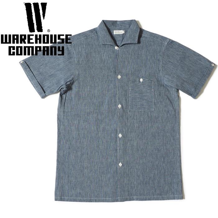 WAREHOUSE ウエアハウス オープンカラーシャツ Lot 3091 S/S OPEN COLLAR SHIRTS エンド オン エンド メンズ 2018年 36-42