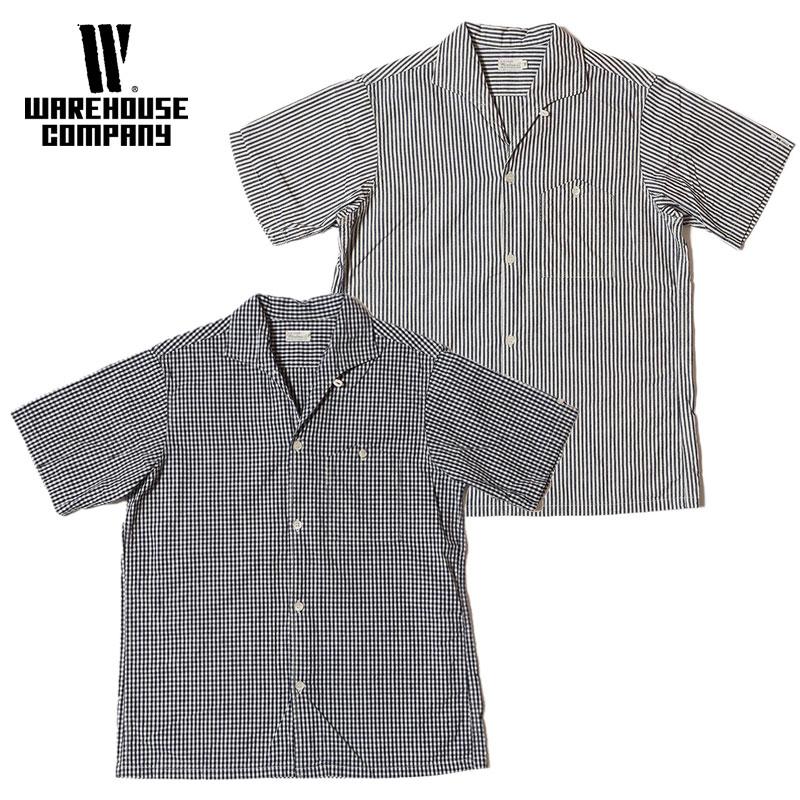 WAREHOUSE ウエアハウス シャツ Lot 3091 S/S OPEN COLLAR SHIRTS ギンガムチェック(小) ストライプ(細) オープンカラーシャツ メンズ 半袖