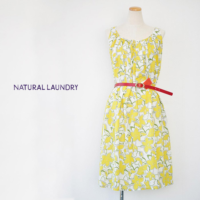 ナチュラルランドリー NATURAL LAUNDRY 花柄ジャンパースカート ワンピース レディース Mサイズ 7162O-009