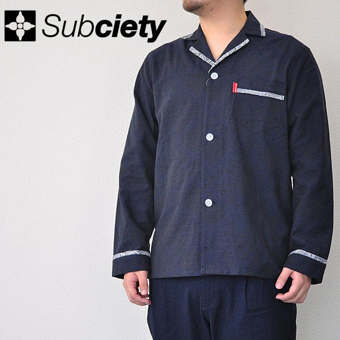 SUBCIETY サブサエティ シャツ PAISLEY PAJAMA SHIRT パジャマ シャツ メンズ 開襟シャツ 長袖 M-XL ペイズリー サブサエティー