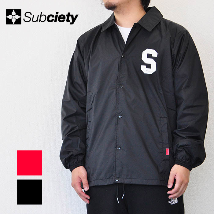 SUBCIETY サブサエティ コーチジャケット COACH JKT-Junior- メンズ ストリート 黒/赤 S-XL サブサエティー 107-62299