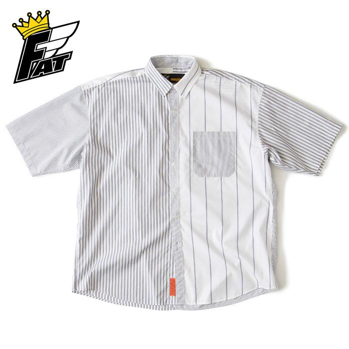 FAT エフエーティー シャツ BILLOSTRIPE ストライプ 白 M-L 半袖 F32010-SH15 メンズ カジュアル ストリート