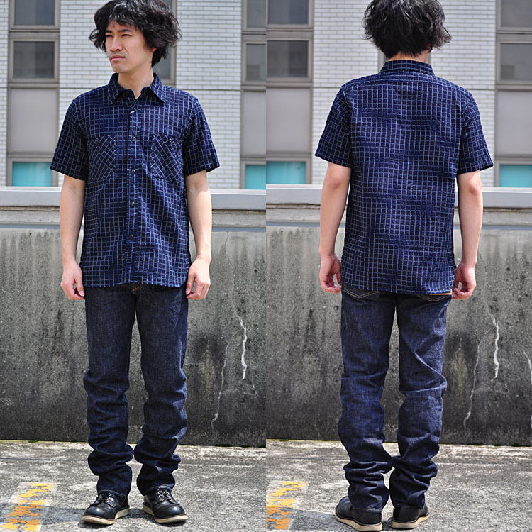 日本武士牛仔武士牛仔裤衬衫 sashiko 刺绣短袖 workshirt 武士武士牛仔裤
