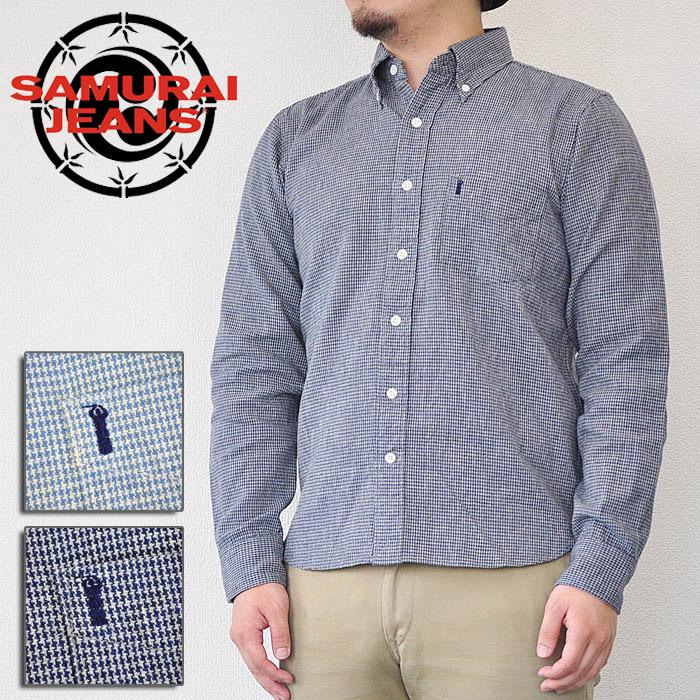 サムライジーンズ SAMURAI JEANS シャツ 千鳥行使BDシャツ ボタンダウンシャツ インディゴ M-XL メンズ SJBD18-L01