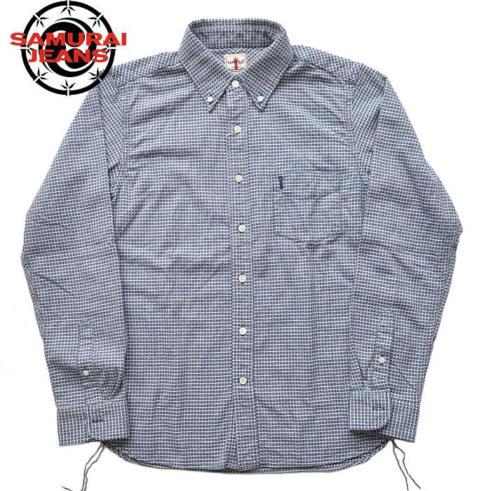 SJBD19-L01 Lサイズ 手裏剣千鳥ボタンダウンシャツ サムライジーンズ SAMURAI シャツ アメカジ 青 JEANS