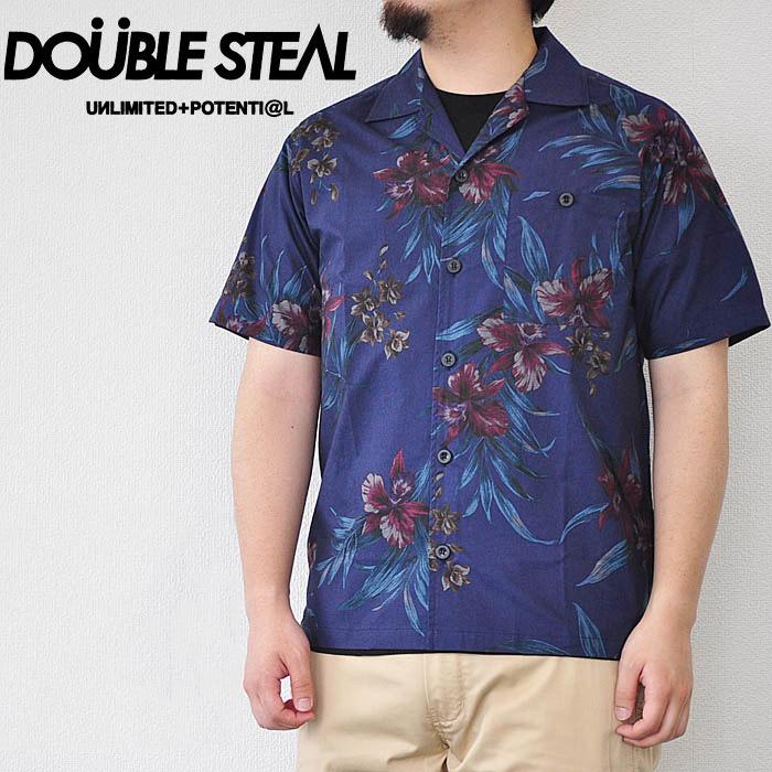 DOUBLE STEAL ダブルスティール シャツ Dark Aloha Shirts 半袖 紺 花柄 M-XL ストリート 782-35202