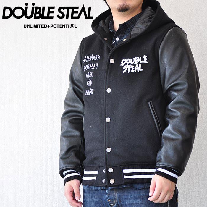 ダブルスティール ジャケット MELTON HOOD STADIUM JACKET メンズ 黒 M-XL 775-69007 ストリート DOUBLE STEAL