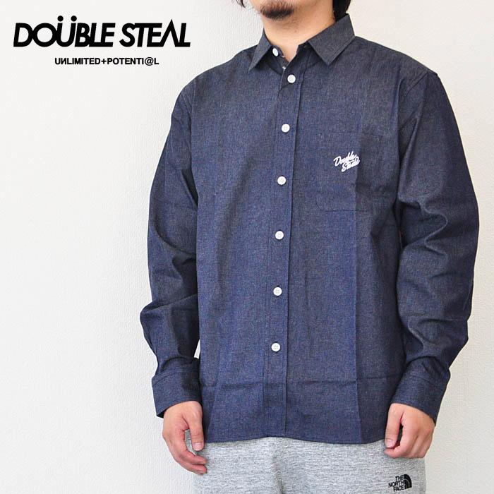 DOUBLE STEAL ダブルスティール シャツ Parts Pattern Denim Shirt デニムシャツ インディゴ M-XL メンズ ストリート 784-35204