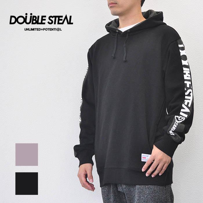 ダブルスティール DOUBLE STEAL パーカー LINE PRINT SWEAT PARKER ラインプリントパーカー メンズ ブラック/ピンク ロゴ 984-69003