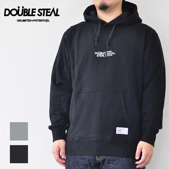 ダブルスティール DOUBLE STEAL パーカー LINE LOGO HOOD PARKER ラインロゴパーカー メンズ 黒/グレー 985-67009