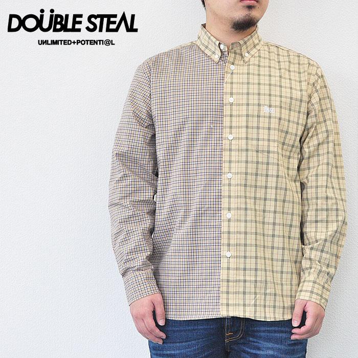 ダブルスティール シャツ CHECK SHIRTS Combination B.D.Shirts メンズ チェックシャツ M-XL 786-35011
