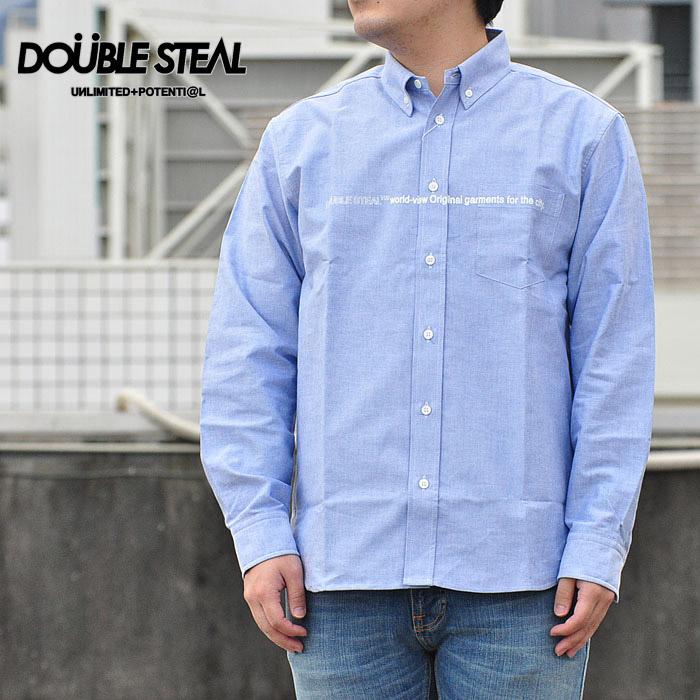 ダブルスティール シャツ Line Print B.D Shirt サックス L-XL 青シャツ 791-35001