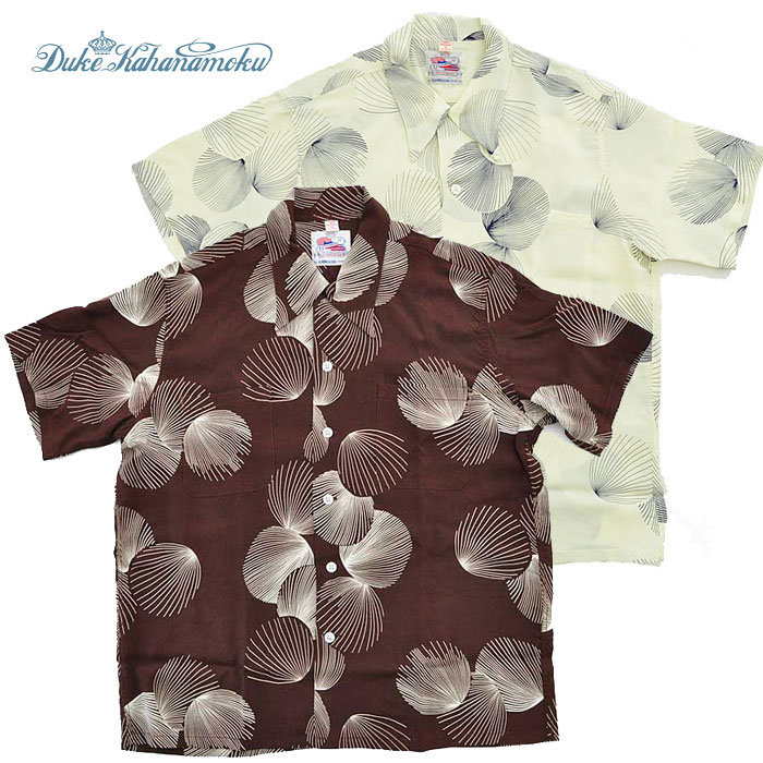 DUKE KAHANAMOKU デュークカハナモク アロハシャツ DUKE'S SHELL Special Edition メンズ 白/茶 半袖 S-XL DK37570 SUN SURF サンサーフ