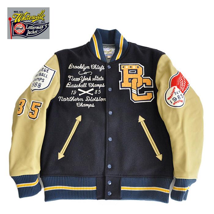 Award Jacket CHIEFS スタジャン Melton BROOKLYN Wool 30oz ネイビー WV14460-128 ジャケット M-L WHITESVILLE ホワイツビル