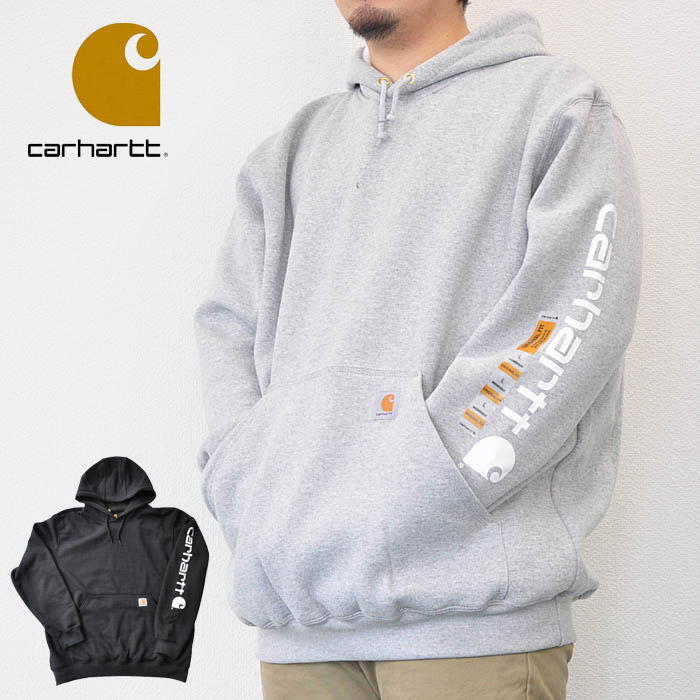 carhartt カーハート パーカー Midweight Sleeve Logo Hooded Sweatshirt ミッドウェイトスリーブロゴフーデッドスウェット S-L 黒 グレー メンズ K288