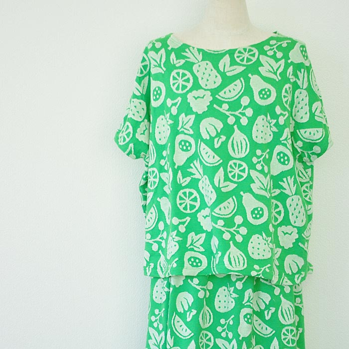 grin グリン 総柄 Tシャツ レディース 春夏 綿100% 半袖 緑 8162C-004