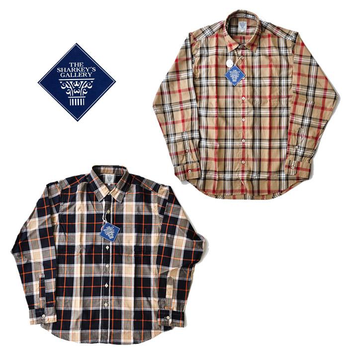 SHARKEY'S シャーキーズ シャツ 長袖 21003 M-XL ベージュ 紺 チェック チェスト メンズ
