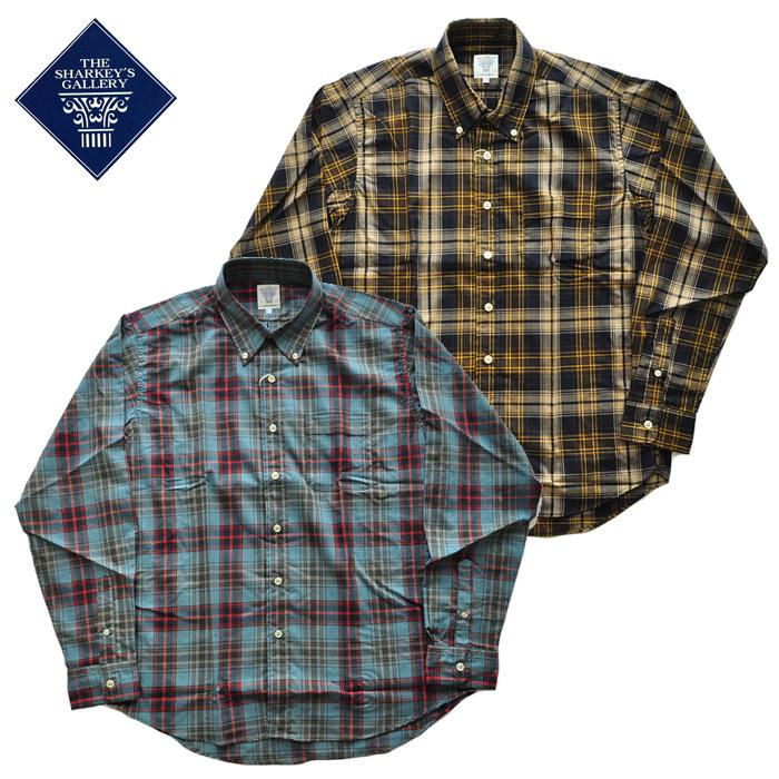 SHARKEY'S シャーキーズ チェックシャツ 22011 M-L 青 茶 長袖 ボタンダウン シンプル カジュアル チェスト メンズ