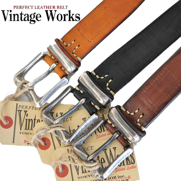 VINTAGE WORKS ヴィンテージワークス レザーベルト アメカジ ベルト メンズ 本革 黒/茶 DH5675