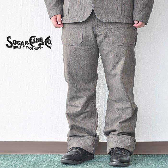 シュガーケーン SUGAR CANE パンツ フィクションロマンス 11オンス コンバートストライプ8ポケットパンツ ワークパンツ 30-36 グレー SC14313