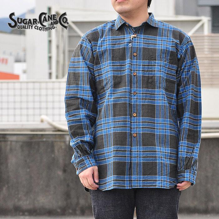 シュガーケーン SUGAR CANE シャツ フィクションロマンス 5オンス インディゴチェックワークシャツ M-XL 紺 SC28092