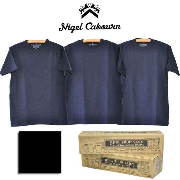 NIGEL CABOURN ナイジェルケーボン Tシャツ 3パックTシャツ 3-PACK T-SHIRT メンズ M-XL 紺/黒