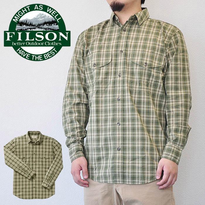 フィルソン FILSON シャツ Feather Cloth Shirt フェザークロスシャツ メンズ 緑 XS-S