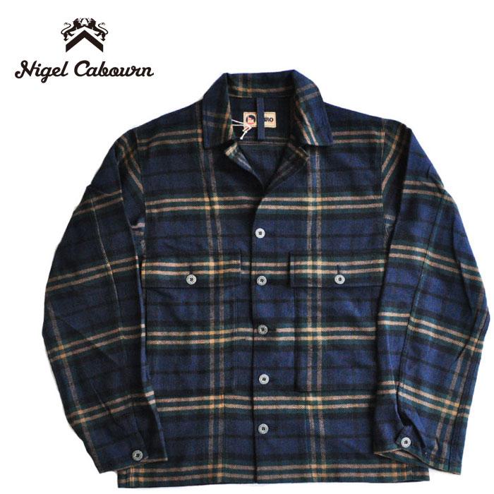 シャツジャケット 80411310020 SHIRT CABOURN チェック NIGEL グレー シャツ USMC サイズ46 BRUSHED CHECK ナイジェルケーボン 長袖 COTTON