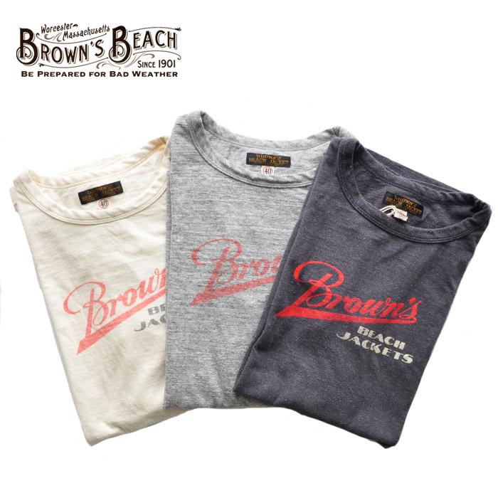 BROWN'S メンズ BEACH Tシャツ TEE BROWN`S ブラウンズビーチ BBJ9-012 白/黒/グレー M-L ロゴ BEACH アメカジ 2