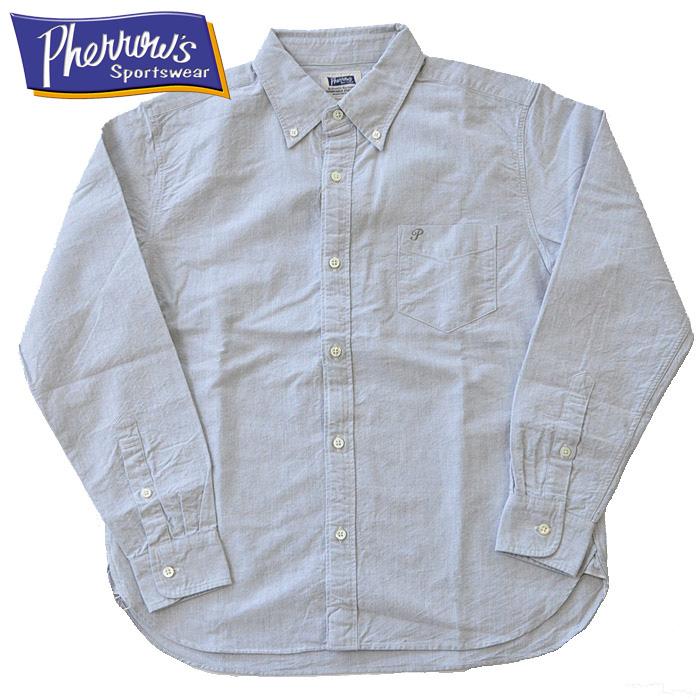 フェローズ シャツ Pherrow's セルビッチ付きオックスフォードボタンダウンシャツ PBD1 メンズ M-XL 無地