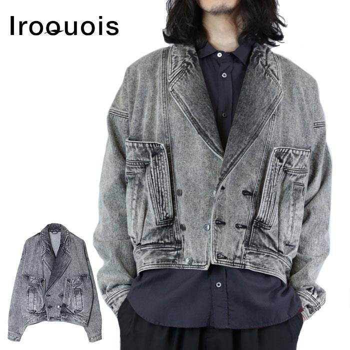 【予約】 Iroquois イロコイ デニムジャケット CHEMICAL WASH DENIM JK 黒 ケミカルウォッシュ M-L 580203