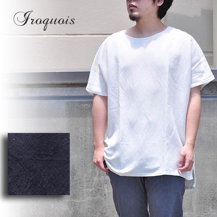 イロコイ Iroquois Tシャツ LI/VISキャンバスプルオーバー 半袖 プルオーバーシャツ 麻 リネン ビッグサイズ メンズ 382124