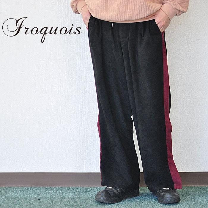 IROQUOIS イロコイ パンツ E/SUEDE ワイドイージーパンツ メンズ 黒 2-3 482105