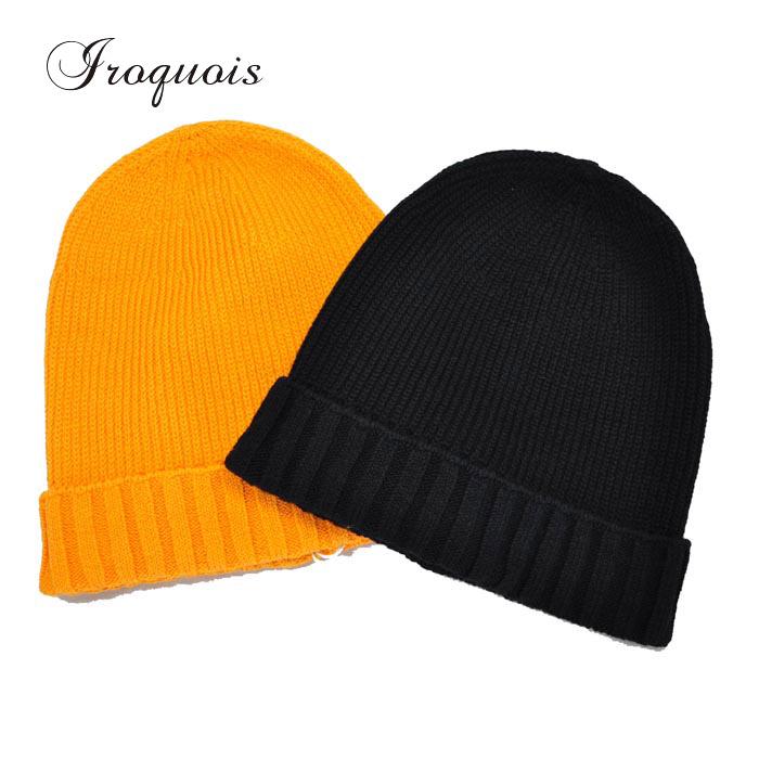 Iroquois イロコイ ニット帽 C/BEANIE コットンビーニーキャップ オレンジ/黒 882116