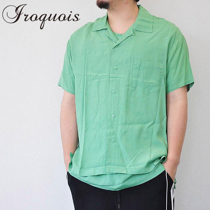 Iroquois イロコイ オープンカラーシャツ RAYON O/C SHIRT レーヨンオープンカラーシャツ 開襟シャツ メンズ 緑 S-M 382117